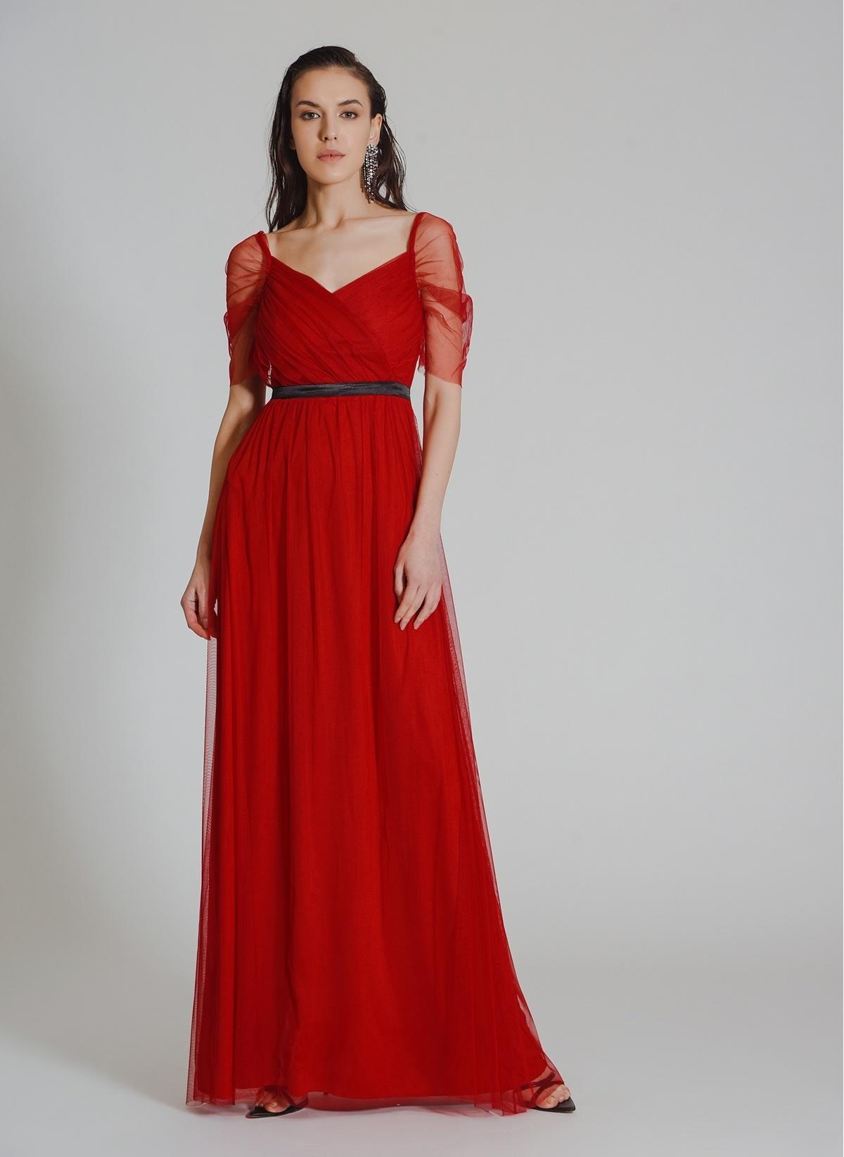 a11197ad1a5df People By Fabrika Kadın Tül Abiye Elbise Kırmızı İndirimli Fiyat ...